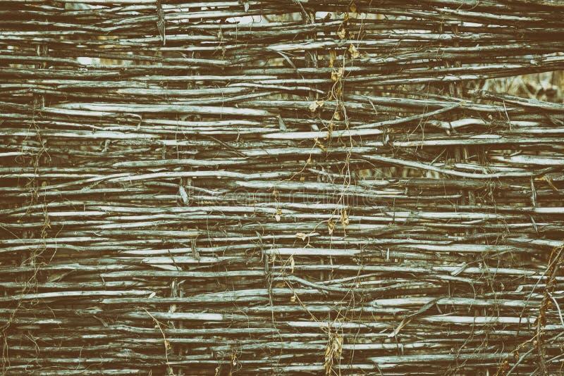 篱笆条篱芭-农村葡萄酒背景土气纹理  库存图片