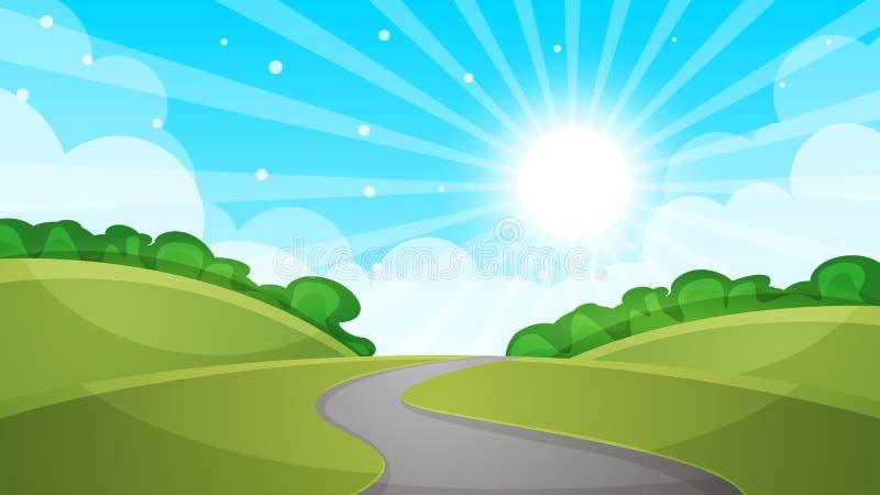 篱芭,动画片风景 太阳,路,云彩,天空例证 皇族释放例证