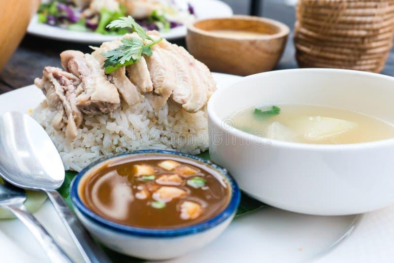 米、鸡、汤和调味汁 免版税库存图片