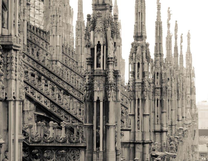 米兰中央寺院 屋顶 免版税库存照片