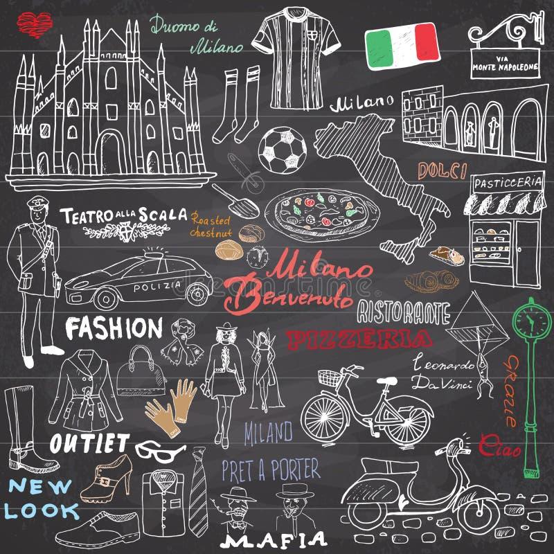 米兰意大利剪影元素 与中央寺院大教堂,旗子,地图,鞋子,时尚项目,薄饼,购物的街道, transpor的手拉的集合 皇族释放例证