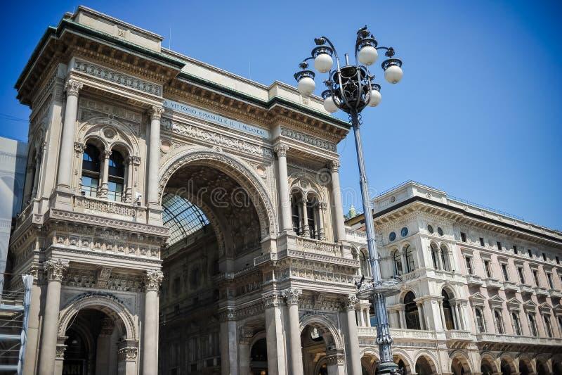 米兰的中心 形成弧光的 段落 免版税库存照片