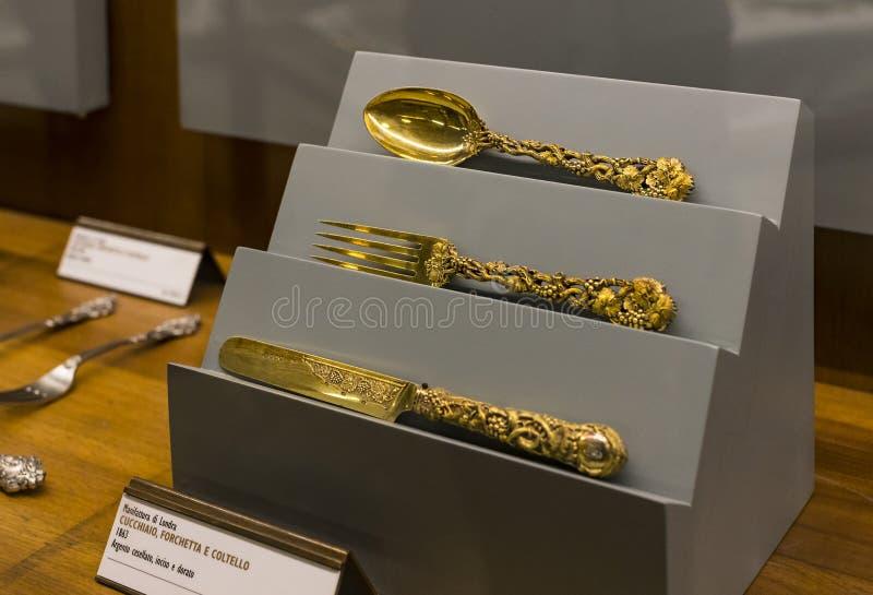 米兰的贵族的豪华财产的博览会在Sforza城堡博物馆被陈列 图库摄影