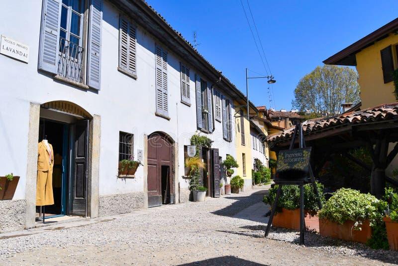 米兰老和著名街道的Vicolo dei Lavandai一  图库摄影