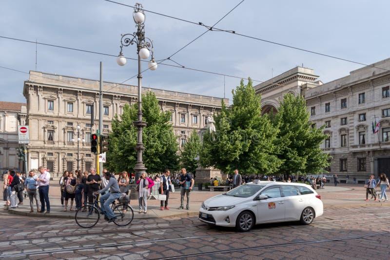 米兰街道视图,斯卡拉广场 免版税库存图片