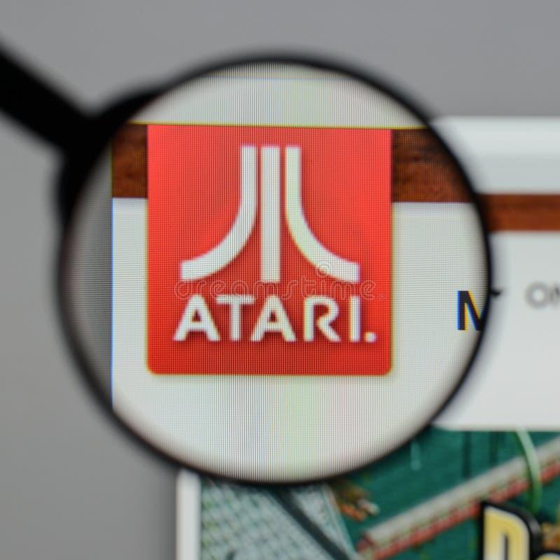 米兰,意大利- 2017年8月10日:在网站homep的Atari商标 免版税库存照片