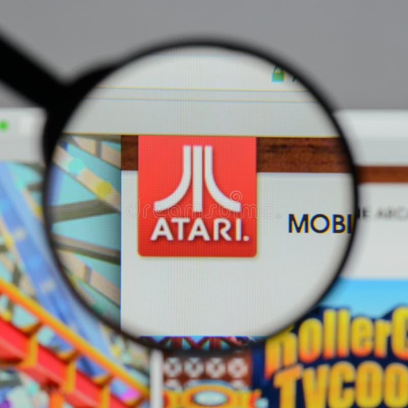 米兰,意大利- 2017年8月10日:在网站homep的Atari商标 图库摄影