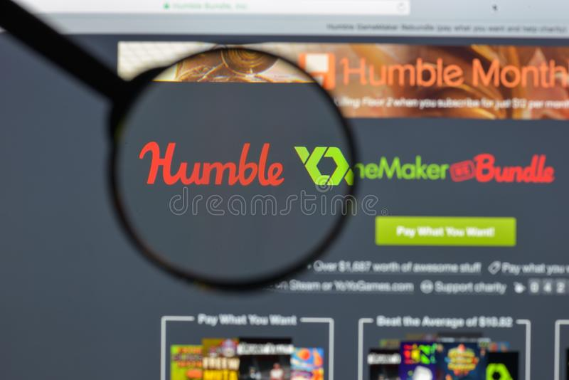 米兰,意大利- 2017年8月10日:humblebundle com网站homepag 免版税图库摄影