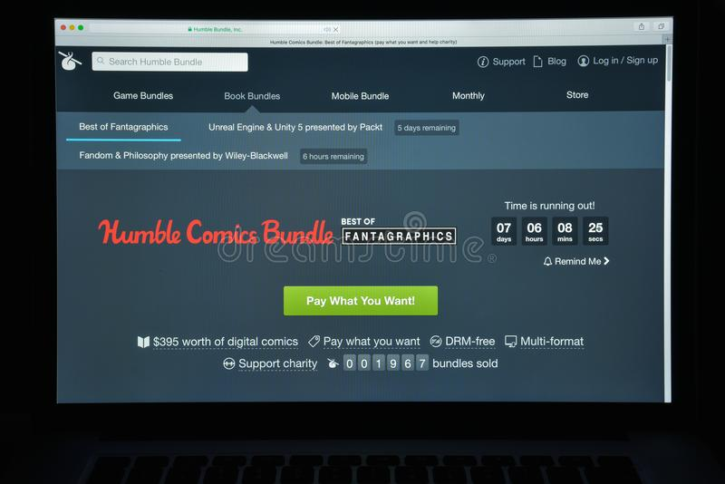 米兰,意大利- 2017年8月10日:humblebundle com网站homepag 图库摄影