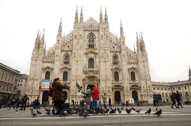 米兰,意大利- 12月14 :喂养鸟的游人在米兰 免版税库存照片