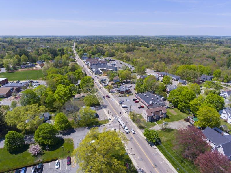 米利斯鸟瞰图,马萨诸塞,美国 免版税库存照片