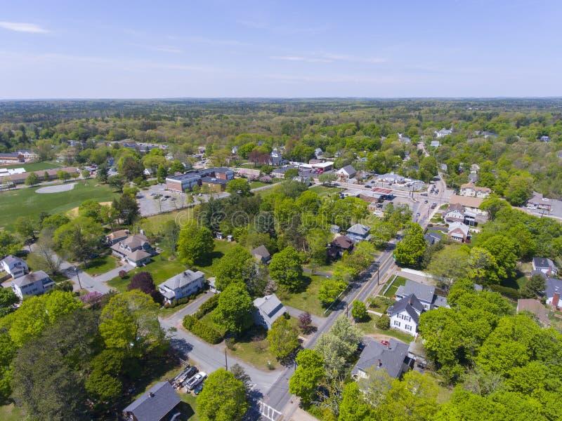 米利斯鸟瞰图,马萨诸塞,美国 免版税库存图片