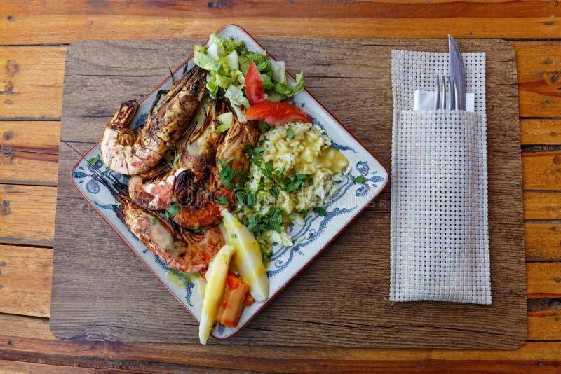米和大虾 免版税图库摄影