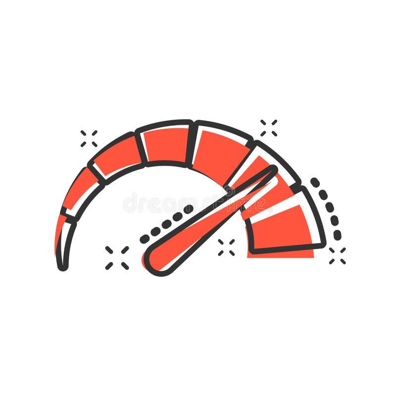 米在可笑的样式的仪表板象 信用评分显示平实传染媒介动画片例证图表 有措施标度的测量仪 库存例证