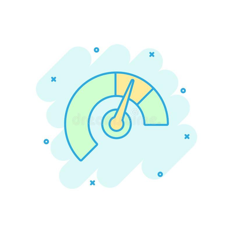 米在可笑的样式的仪表板象 信用评分显示平实传染媒介动画片例证图表 有措施标度的测量仪 皇族释放例证
