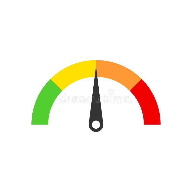 米在平的样式的仪表板象 信用评分显示水平 向量例证