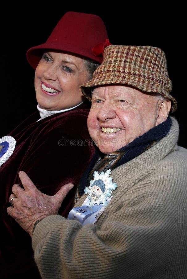 米基・鲁尼和妻子1月卢尼 免版税库存照片