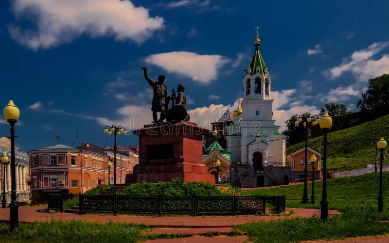 米宁和Pozharsky的纪念碑在Nizhni诺夫哥罗德,俄罗斯 免版税库存图片