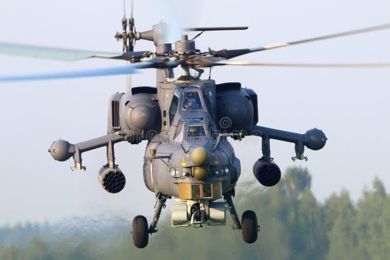 米尔MI-28N RF-95325攻击用直升机离开在Kubinka空军基地 免版税图库摄影