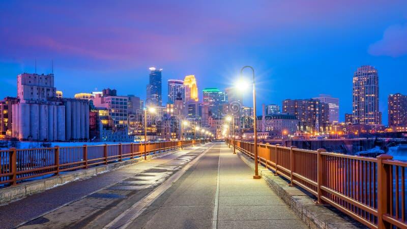 米尼亚波尼斯街市地平线在明尼苏达,美国 图库摄影