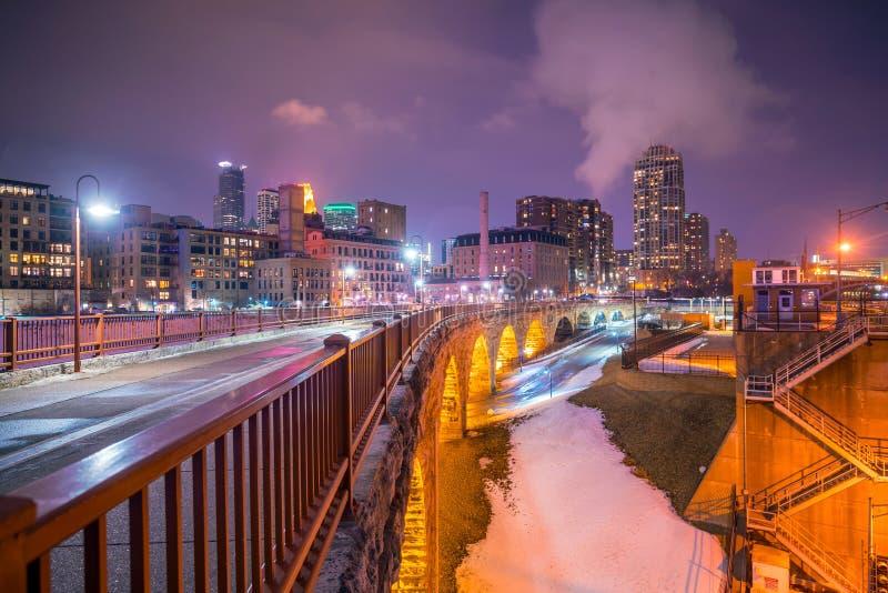 米尼亚波尼斯街市地平线在明尼苏达,美国 免版税库存照片