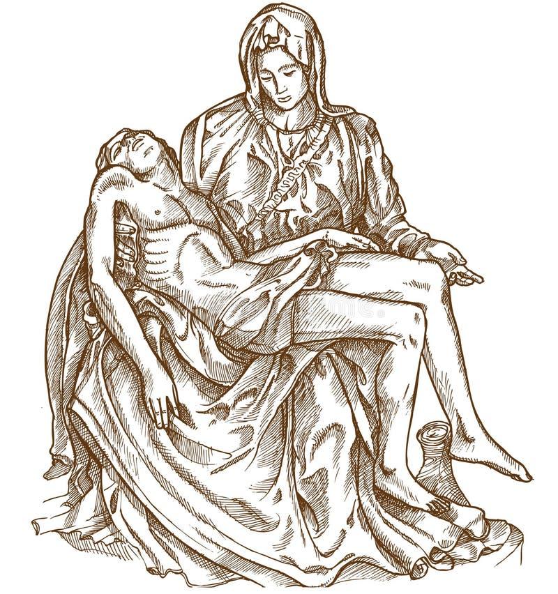 米开朗基罗圣母怜子图雕象  皇族释放例证