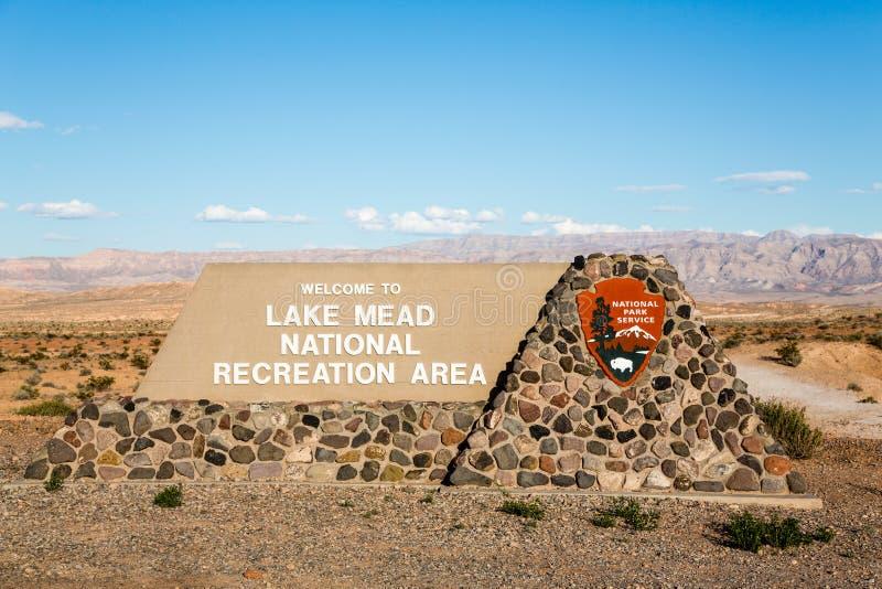 米德湖标志 库存图片