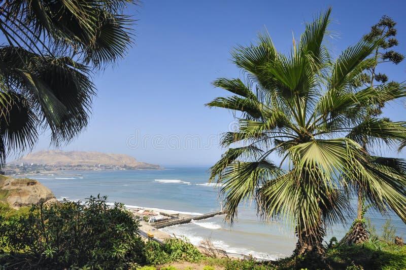 米拉弗洛雷斯区风景在利马,秘鲁 免版税库存照片