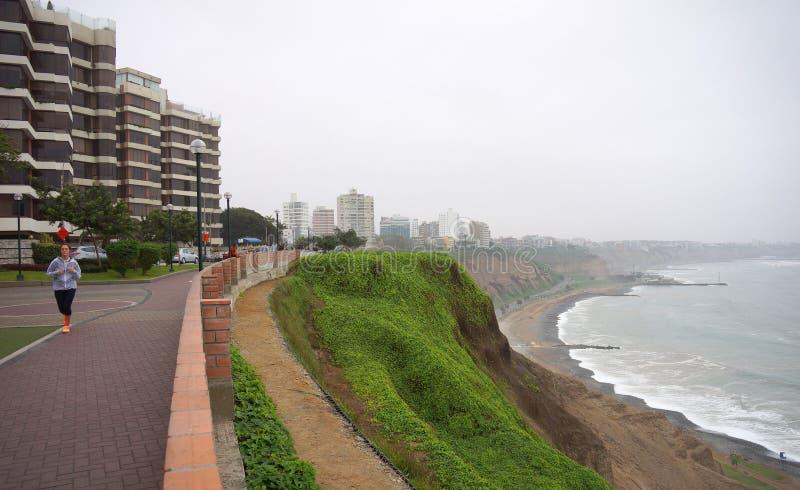米拉弗洛雷斯和肋前缘Verde,利马秘鲁 免版税图库摄影
