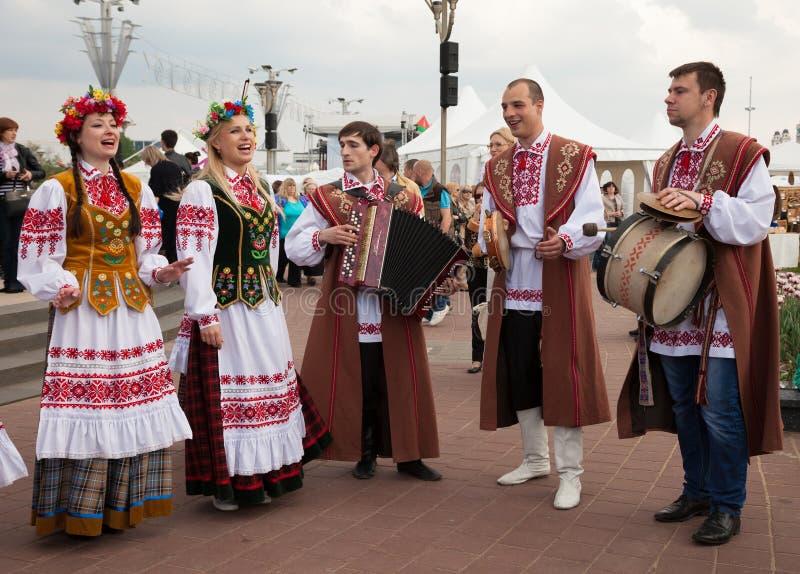 米斯克,白俄罗斯, 09 5月2014 :冰球世界查家的庆祝 库存图片