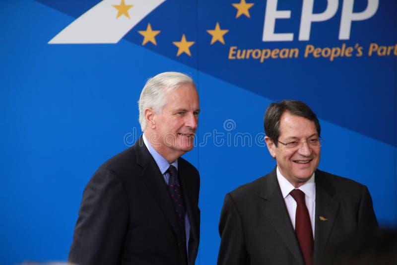 米歇尔・巴尼耶和Nicos Anastasiades 库存图片