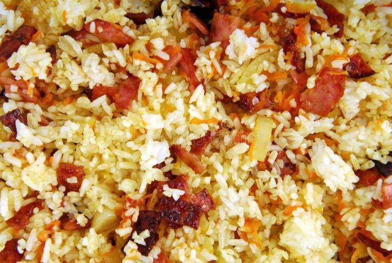 米用火腿红萝卜和葱 免版税库存图片