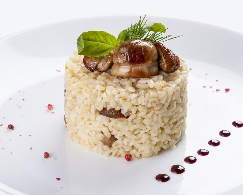 米用porcini蘑菇 在一块白色板材上 图库摄影