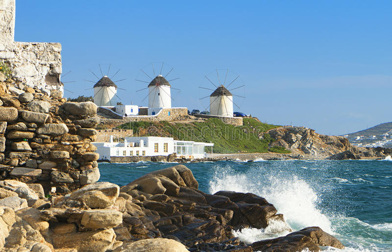 米科诺斯岛海岛在希腊 库存照片