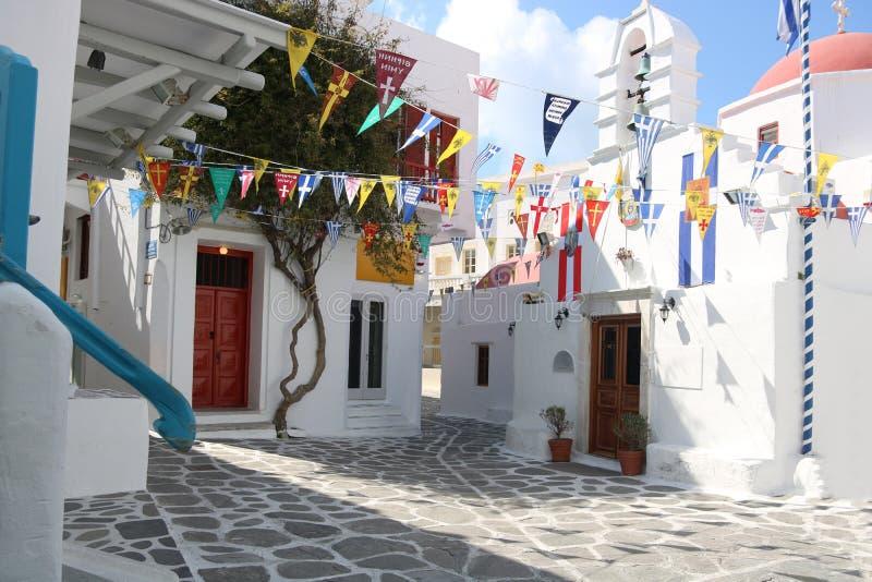 米科诺斯岛海岛教会 库存图片