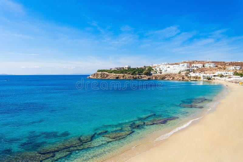 米科诺斯岛海岛海滩,希腊 库存图片