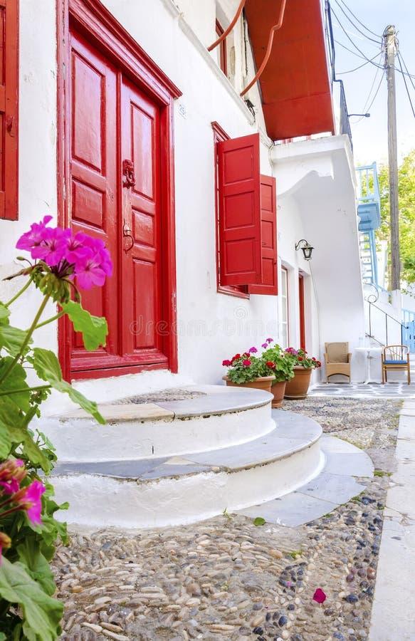 米科诺斯岛海岛建筑学,希腊 库存照片