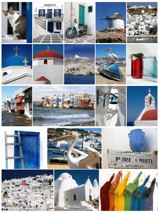 米科诺斯岛照片拼贴画 库存图片