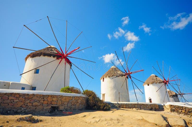 米科诺斯岛风车  库存图片