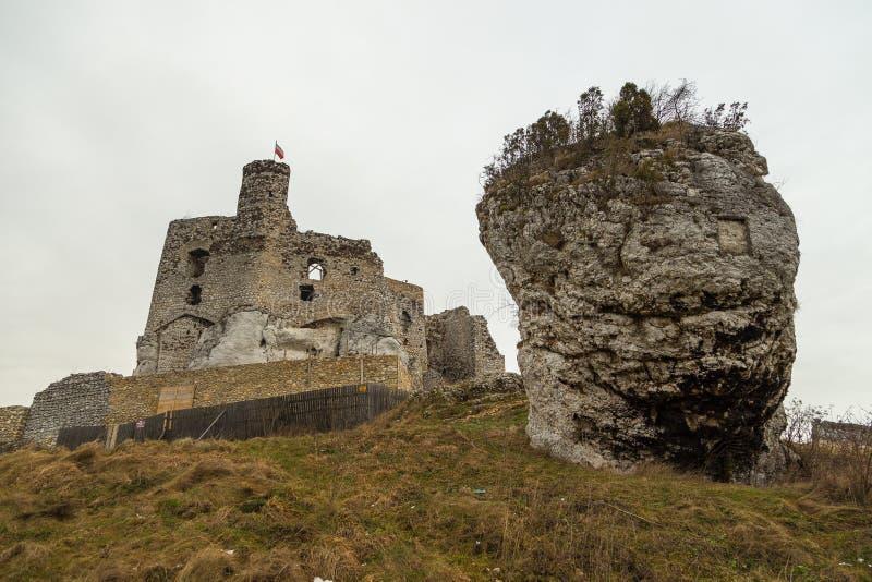 米罗城堡,米罗,波兰的废墟 库存图片