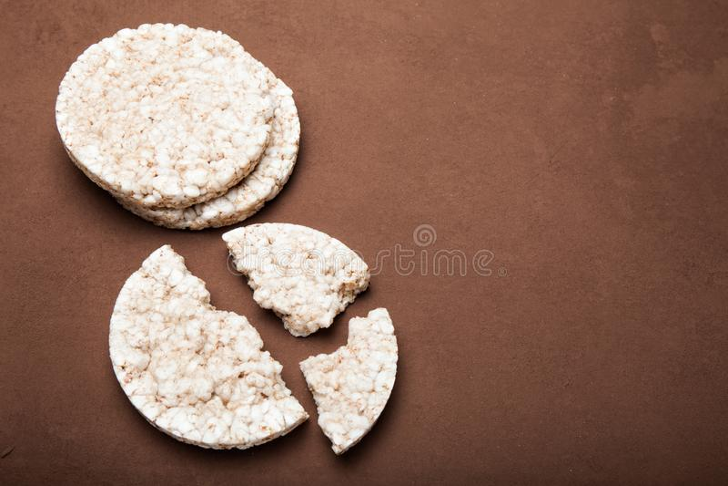米薄脆饼干,拷贝空间 健康的食物 免版税图库摄影
