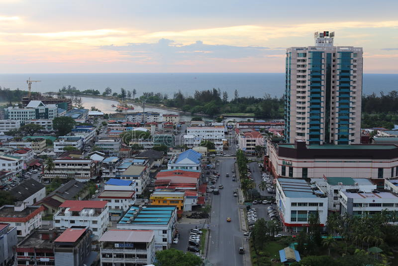米里市,沙捞越镇视图  图库摄影