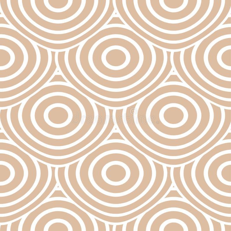米黄和白色几何装饰品 无缝的模式 向量例证