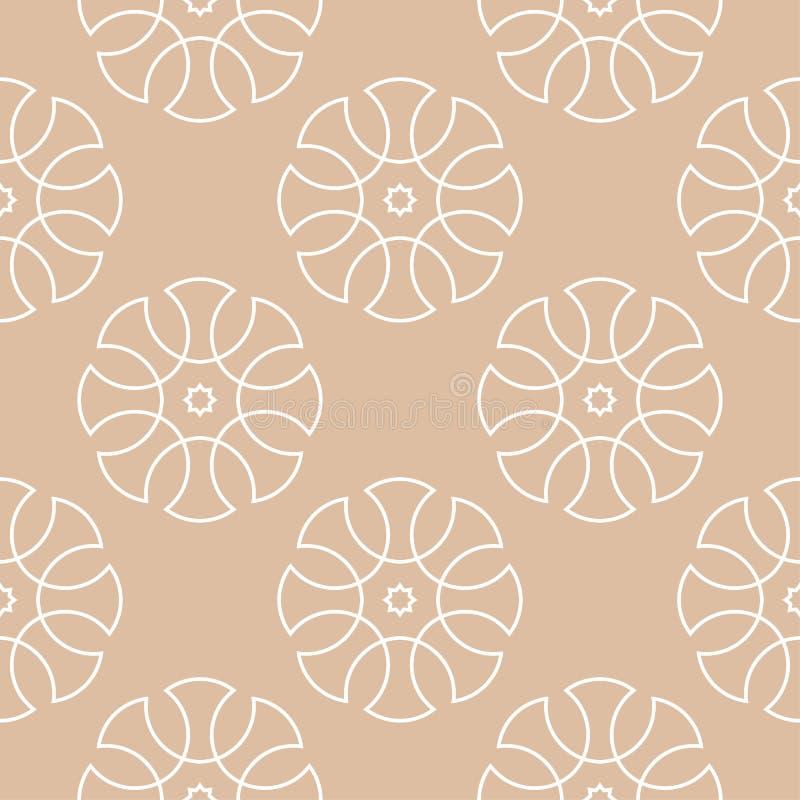 米黄和白色几何装饰品 无缝的模式 皇族释放例证