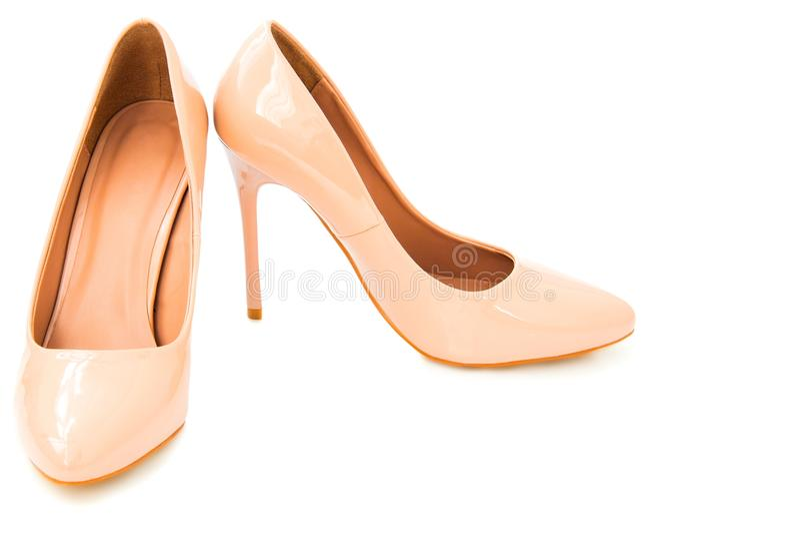 米黄妇女鞋子 库存图片