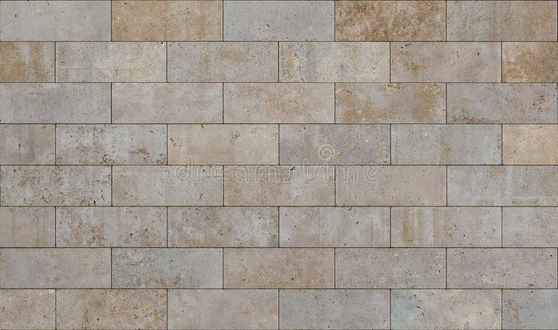 米黄瓦片无缝的纹理由砂岩制成作为背景或背景 免版税库存图片