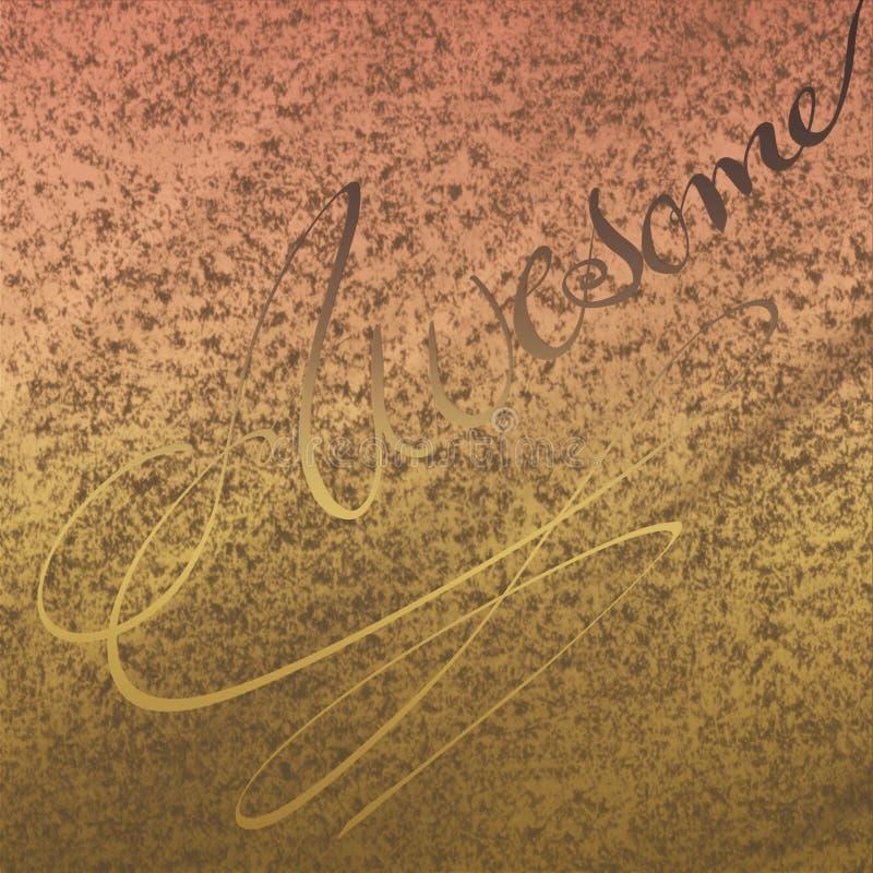 米黄老生锈的补丁艺术品 与在背景驱散的粉末颜色的压印的书法 图库摄影