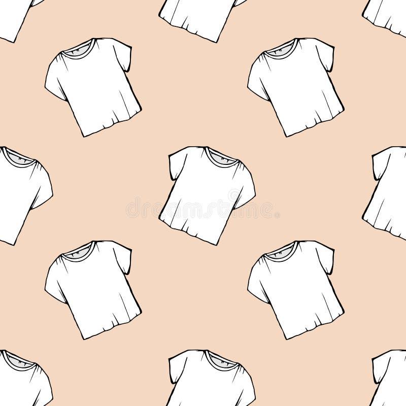 米黄背景 传染媒介白色T恤无缝的样式 洗衣店设计 清除干洗 包装 画的净白色t- 向量例证