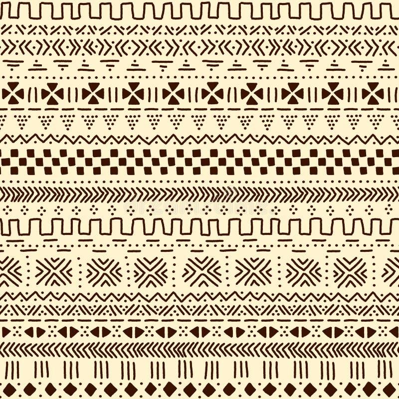 米黄和棕色传统种族非洲mudcloth织品无缝的样式,传染媒介 皇族释放例证