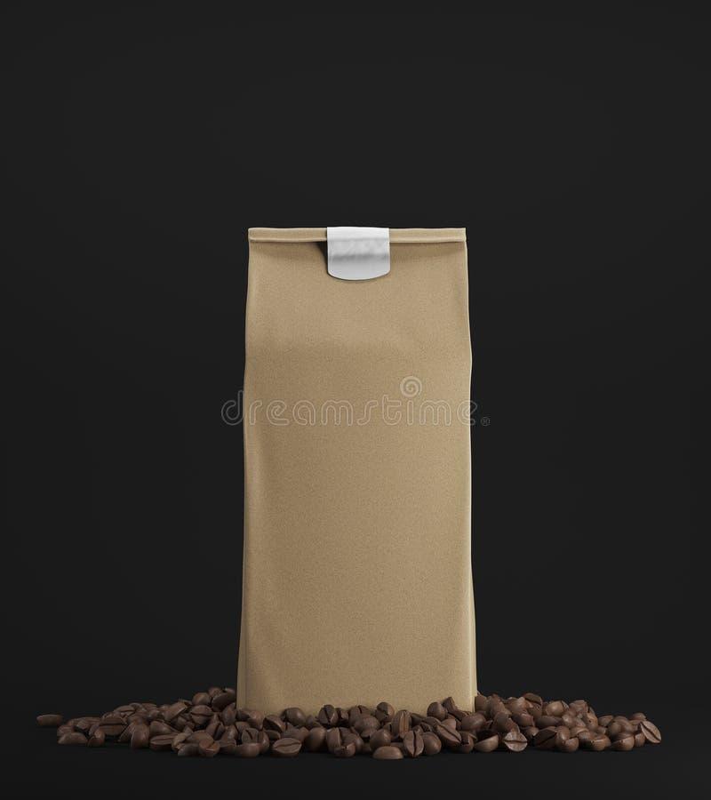 米黄盒反对黑背景的咖啡 库存例证